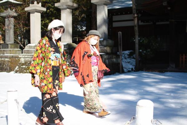友達と着物で初詣にいってきました